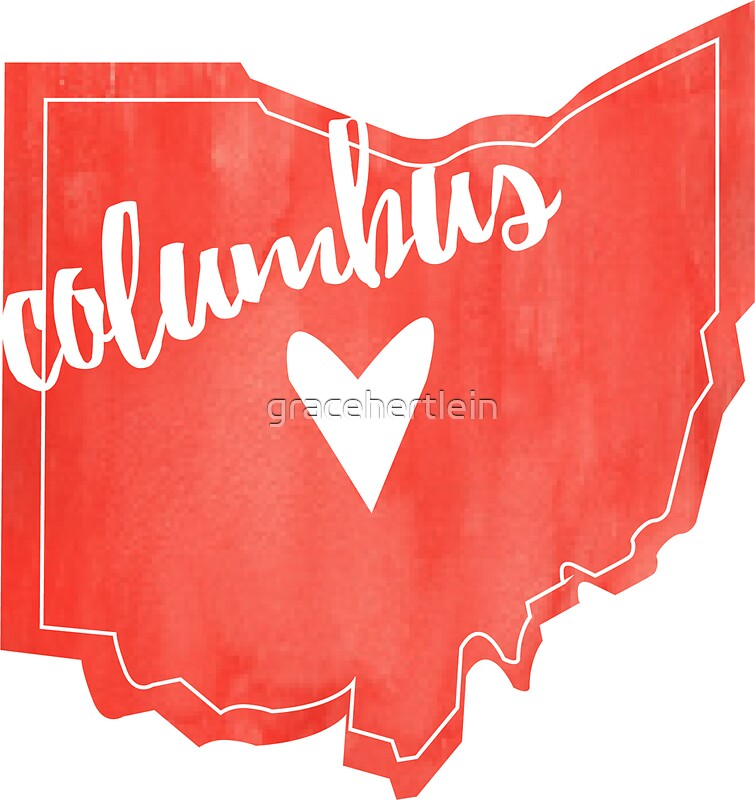 Columbus heart ohio outline watercolor stickers by Oh design