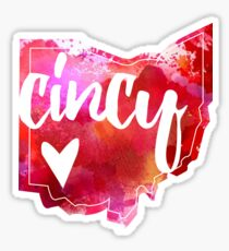 Cincy, Cincinnati, Ohio - heart, watercolor  Sticker