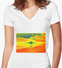 Psychedelic Sunset Women's Fitted V-Neck T-Shirt