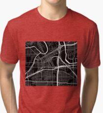 Fort Worth Map - Black Tri-blend T-Shirt