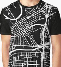 Fort Worth Map - Black Graphic T-Shirt