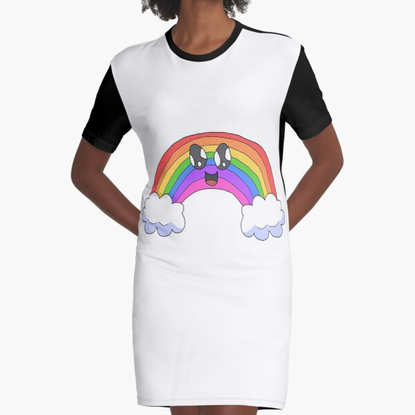 Shimmery Smiling Rainbow Graphic T-Shirt Dress