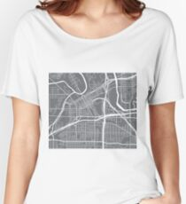 Fort Worth Map - Grey Women's Relaxed Fit T-Shirt