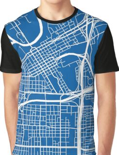 Fort Worth Map - Deep Blue Graphic T-Shirt
