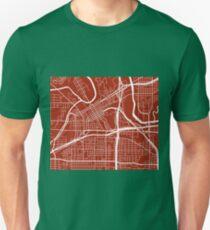 Fort Worth Map - Dark Red Unisex T-Shirt