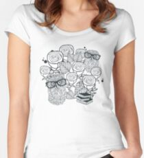 White roses and owls Women's Fitted Scoop T-Shirt