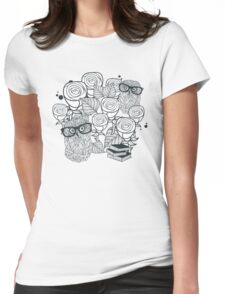 White roses and owls Womens Fitted T-Shirt