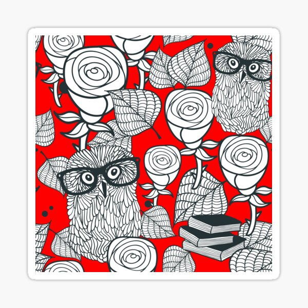 White roses and owls Sticker