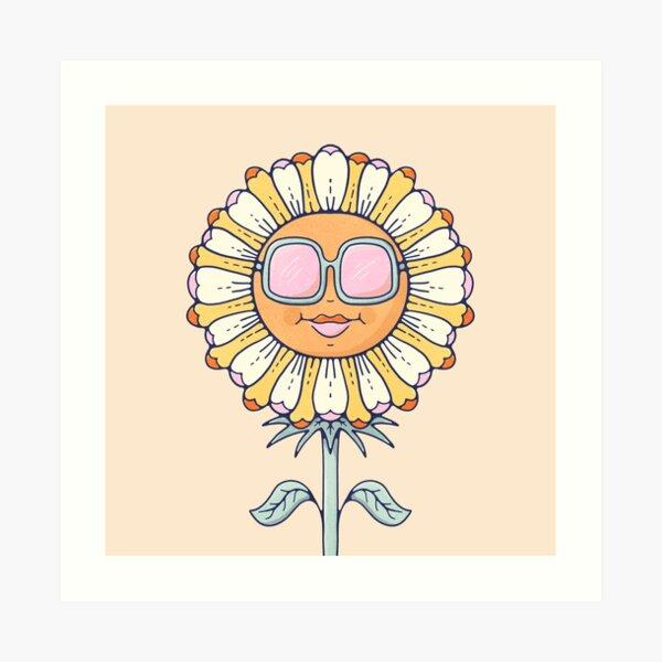 Cute Daisy in Sunglasses Nursery Retro Art Print Art Print