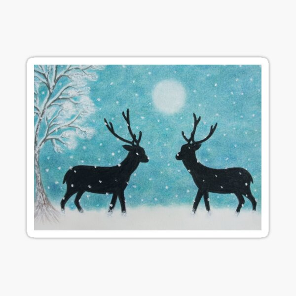 Christmas Deer in Snow: Reindeer Silhouette with Moon Tree and Snow Sticker