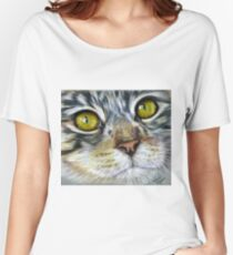 Blink Macro Cat Painting Women's Relaxed Fit T-Shirt