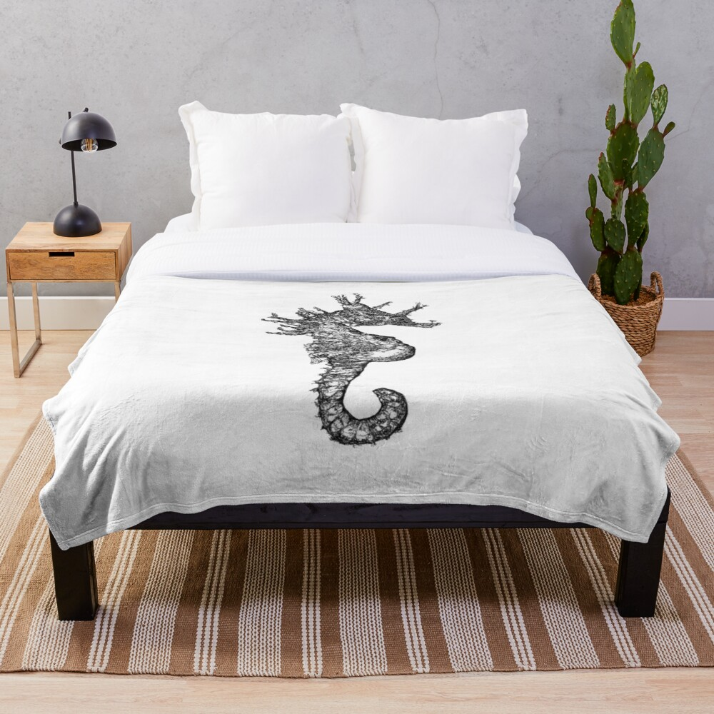 Dave the Seahorse  Throw Blanket