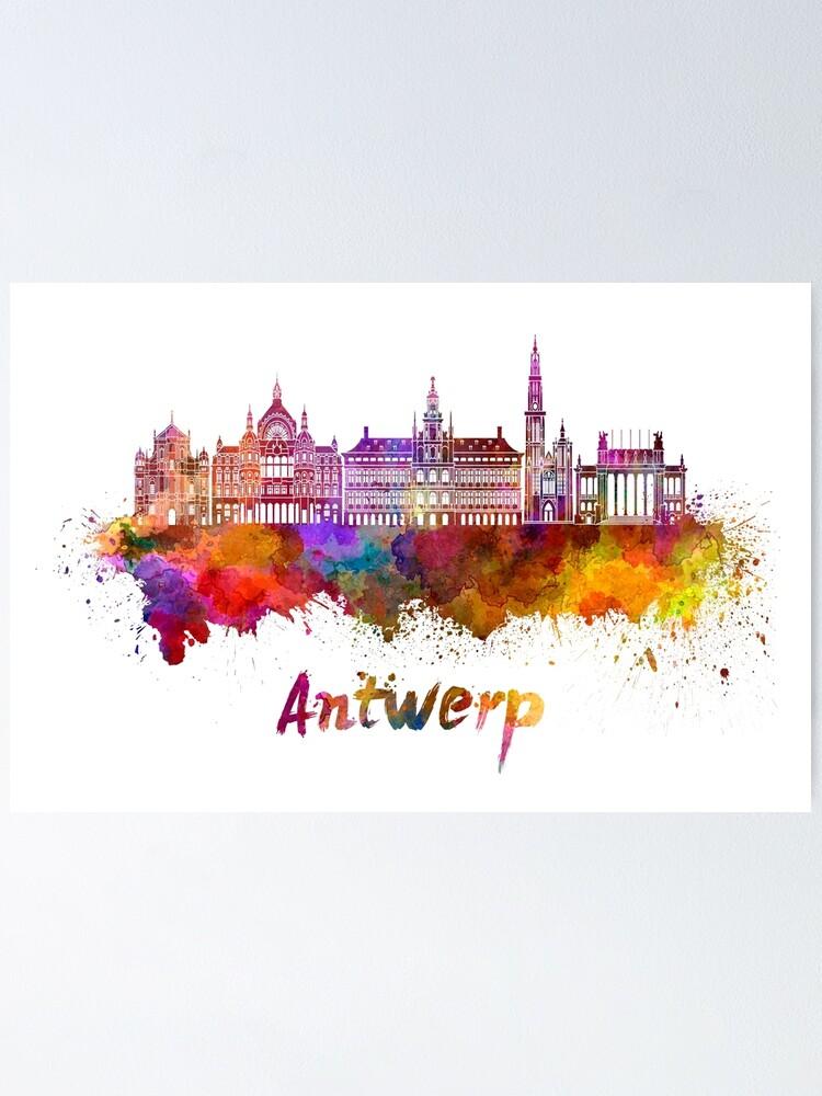 Antwerp Skyline In Watercolor Poster By Paulrommer Redbubble