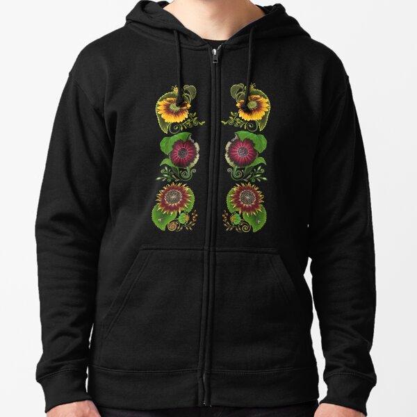 FLORAL ~ Folkart Sunflowers for Zipped Hoodies by tasmanianartist 04012021 Zipped Hoodie