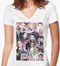 Robert Downey Jr. fangirl edit tumblr collage Women's Fitted V-Neck T-Shirt