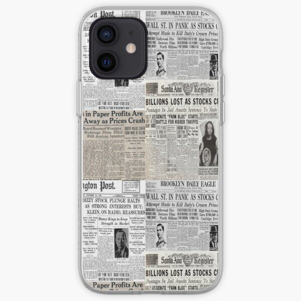 The Stock Market Crash of 1929 - Newspaper Collage iPhone Soft Case