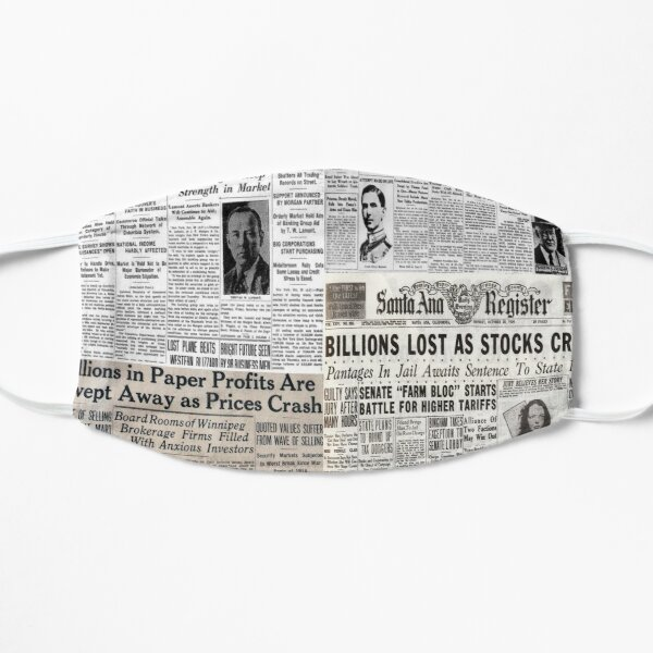 The Stock Market Crash of 1929 - Newspaper Collage Mask