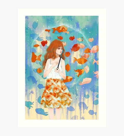 Fish in the rain 魚と雨 Art Print