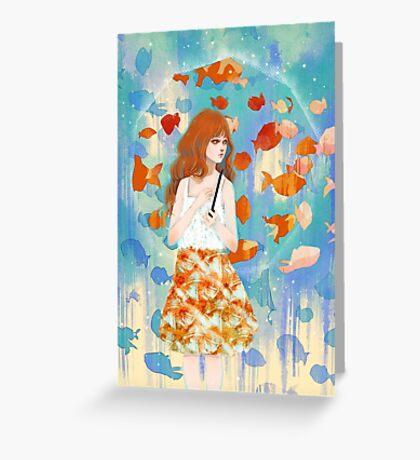 Fish in the rain 魚と雨 Greeting Card