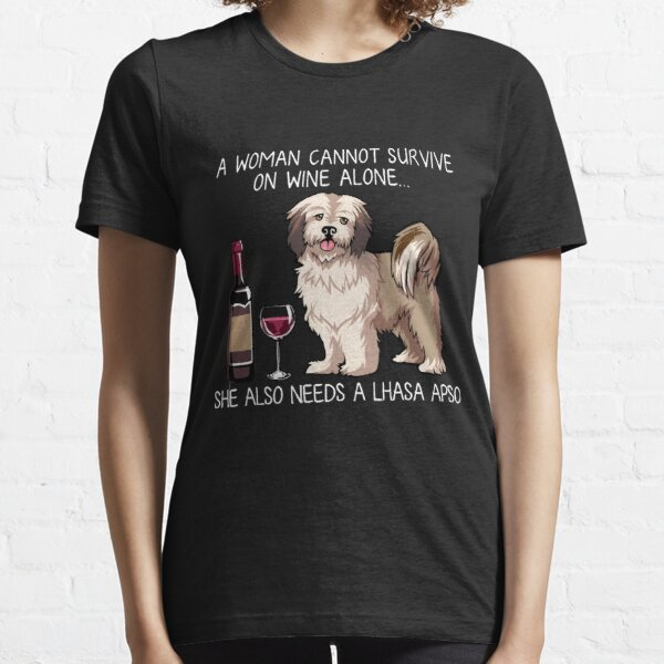 Funny Lhasa Apso  & Wine Lover Dog Mom T-Shirt Essential T-Shirt