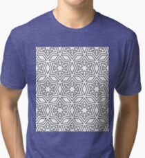 Geometric pattern in white and grey Tri-blend T-Shirt