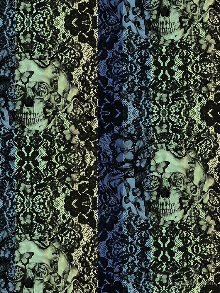 Navy fade Victorian Lace Skull by KristyPatterson