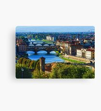 Impressions Of Florence - Long Blue Shadows on the Arno River Canvas Print