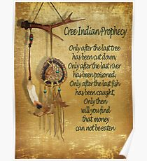 "Native American Indian ""Cree Prophecy"" Poster"