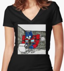 Transformers in the Office Women's Fitted V-Neck T-Shirt