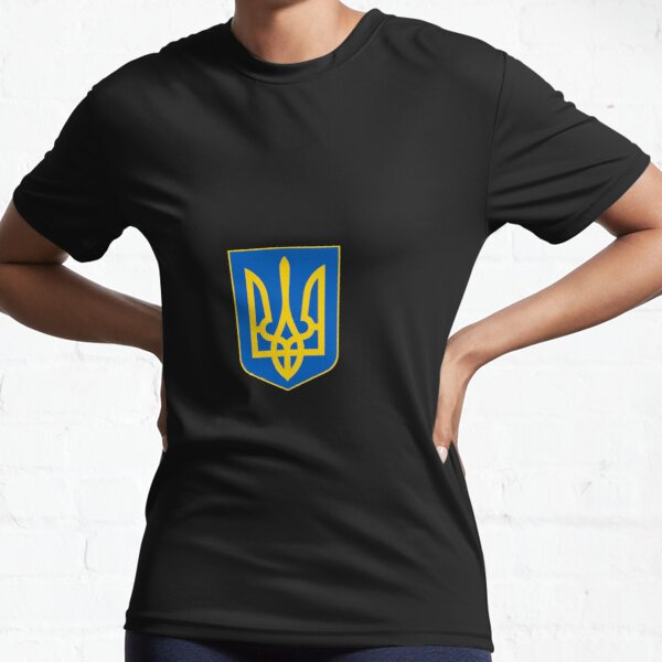 The state coat of arms of Ukraine, officially referred to as the Sign of the Princely State of Vladimir the Great or commonly the Tryzub Active T-Shirt