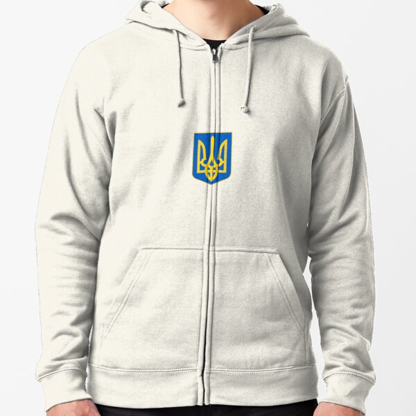 The state coat of arms of Ukraine, officially referred to as the Sign of the Princely State of Vladimir the Great or commonly the Tryzub Zipped Hoodie