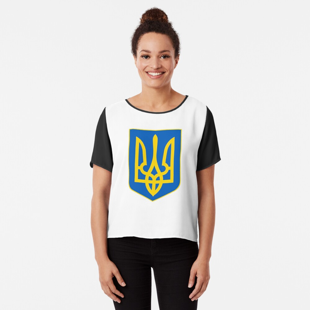 The state coat of arms of Ukraine, officially referred to as the Sign of the Princely State of Vladimir the Great or commonly the Tryzub Chiffon Top