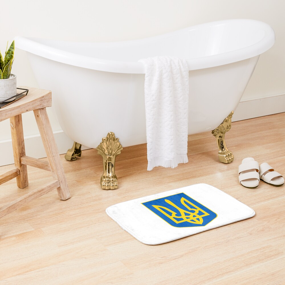 The state coat of arms of Ukraine, officially referred to as the Sign of the Princely State of Vladimir the Great or commonly the Tryzub Bath Mat