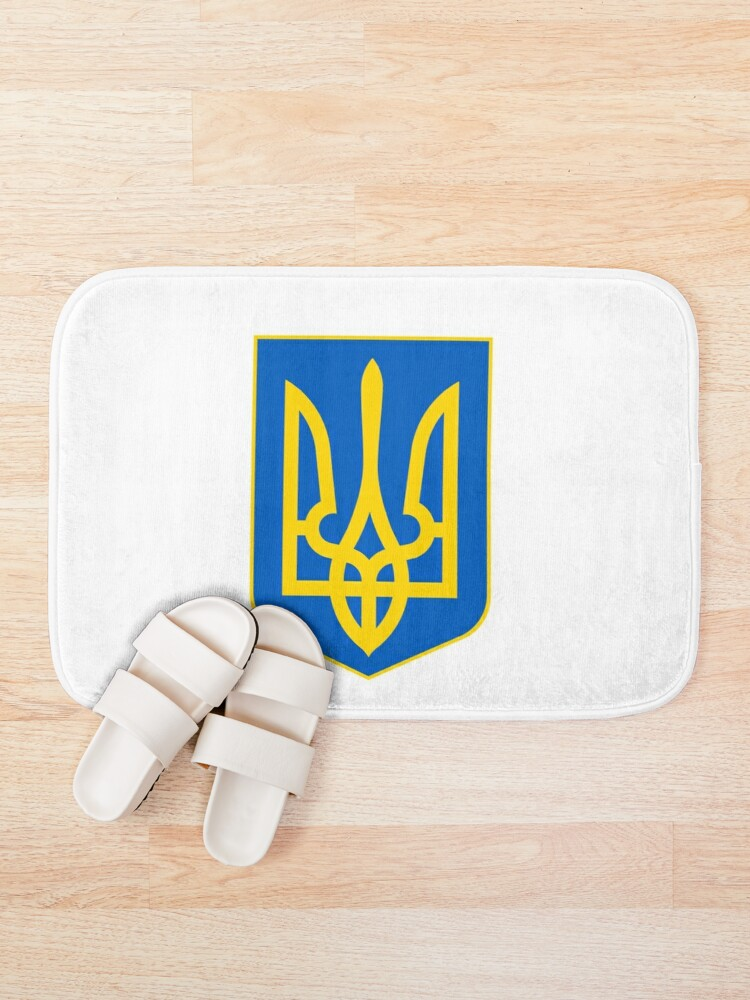 Alternate view of The state coat of arms of Ukraine, officially referred to as the Sign of the Princely State of Vladimir the Great or commonly the Tryzub Bath Mat