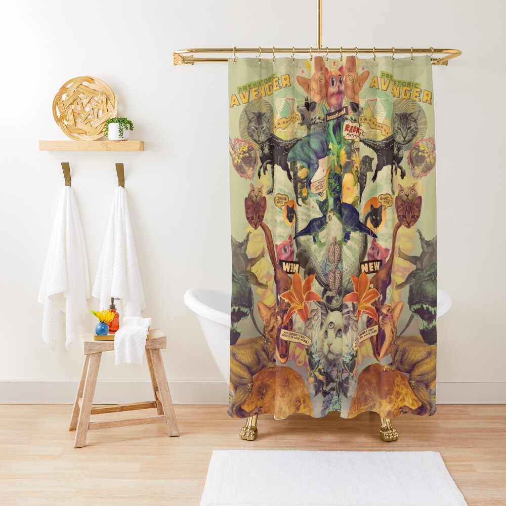 Meowosaurus Shower Curtain