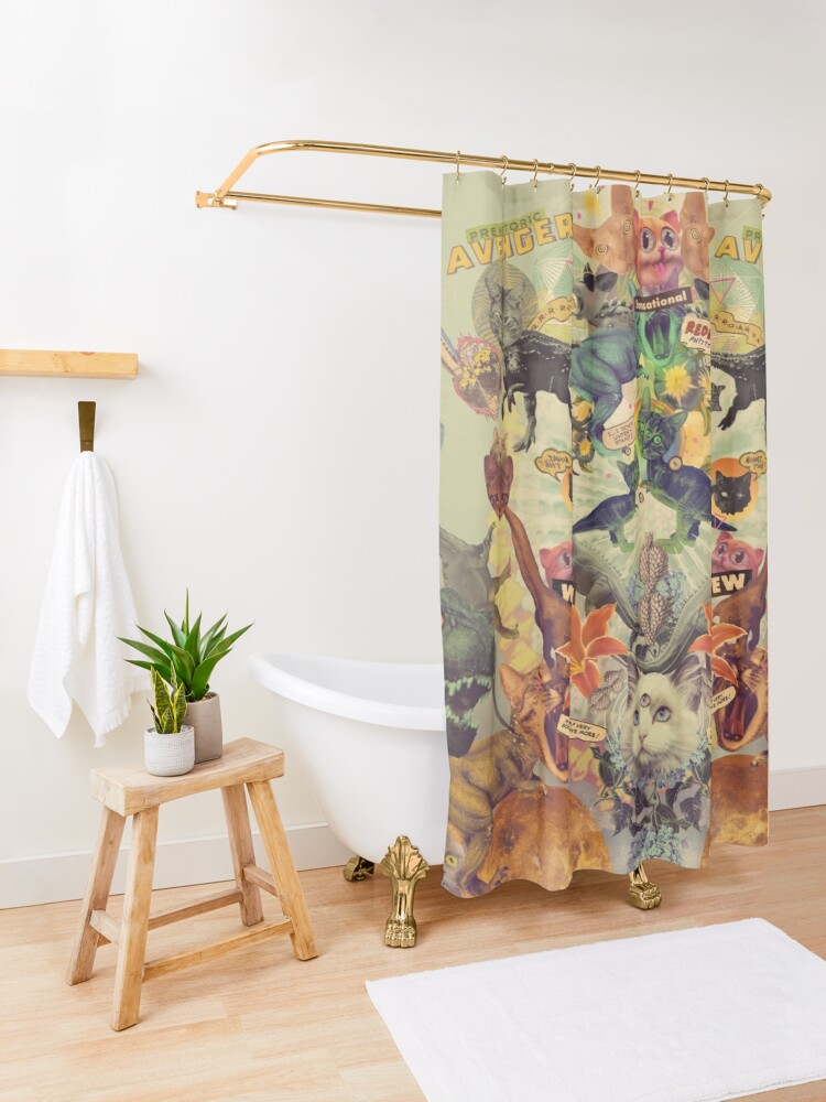 Alternate view of Meowosaurus Shower Curtain