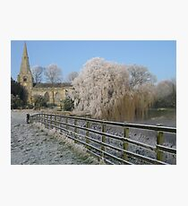 A cold and frosty morning in Brompton village near Scarborough. Photographic Print