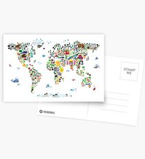 Animal Map of the World for children and kids Postcards