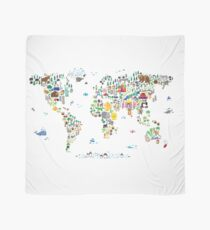 Animal Map of the World for children and kids Scarf