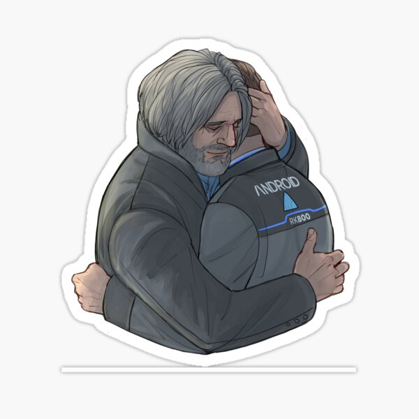 Hank and Connor hug Sticker