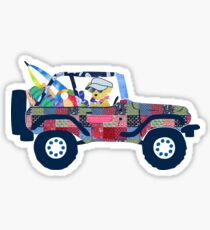 Preppy Jeep Golden Retriever Dog - Beach Day Sticker