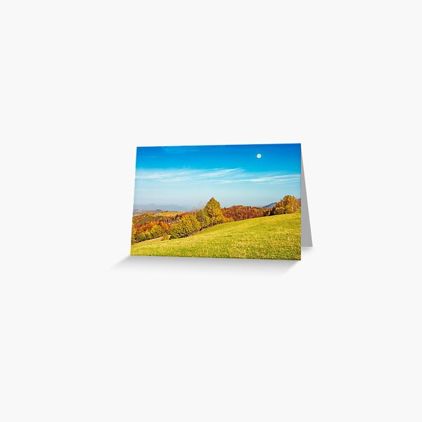 moon above autumn landscape with grassy meadow Greeting Card