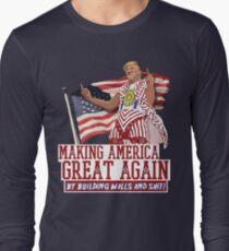 Camiseta de manga larga Haciendo que Estados Unidos sea grandioso nuevamente Donald Trump (IDIOCRACY)