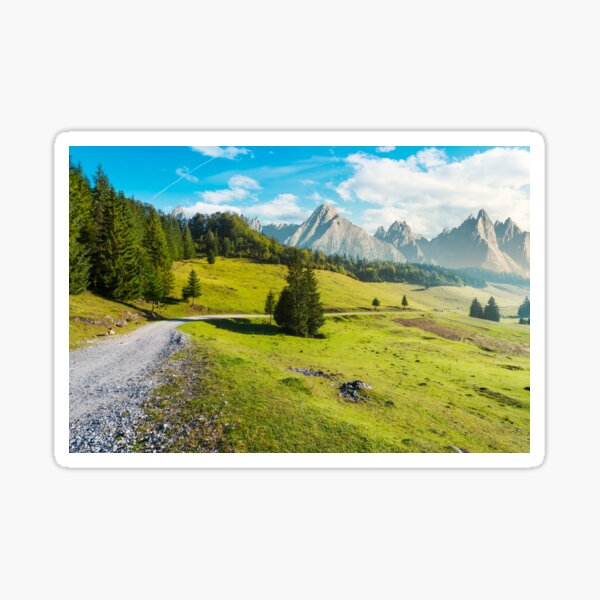 country road winds through the valley Sticker