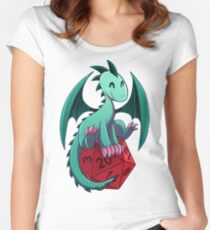 D&D - Dragons and Dice! (Green Dragon) Women's Fitted Scoop T-Shirt