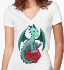 D&D - Dragons and Dice! (Green Dragon) Women's Fitted V-Neck T-Shirt