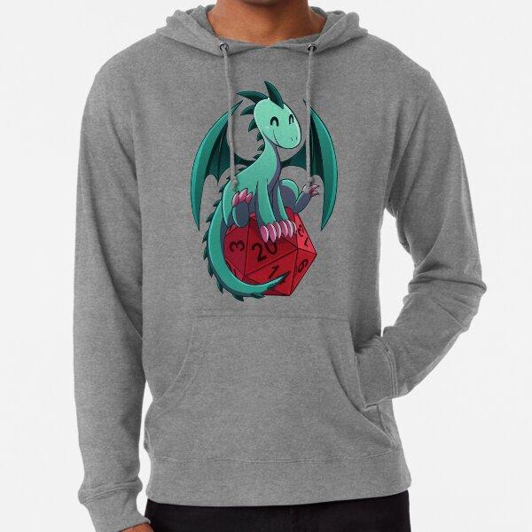 D & D - Drachen und Würfel! (Grüner Drache) Leichter Hoodie