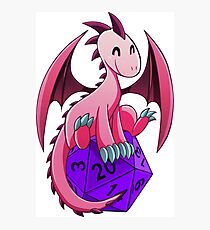 D&D - Dragons and Dice! (Pink Dragon) Photographic Print