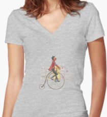 Vintage illustration Women's Fitted V-Neck T-Shirt