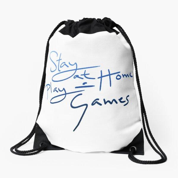 Stay at Home & Play Games Drawstring Bag